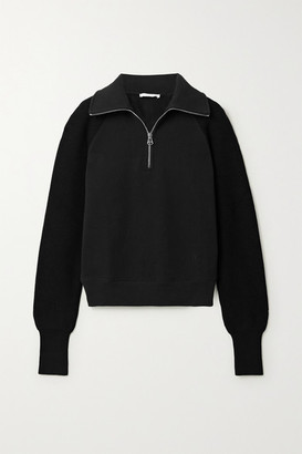 Helmut Lang Paneled Cotton-jersey And Ribbed-knit Sweatshirt - Black