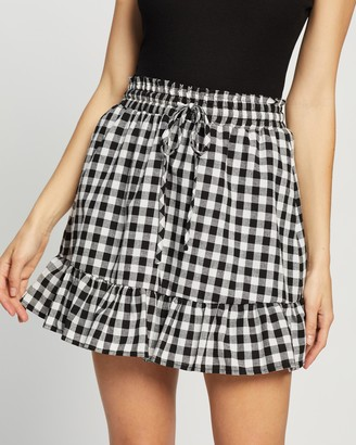 Atmos & Here Atmos&Here - Women's Black Mini skirts - Tobby Ruffle Skirt - Size 6 at The Iconic
