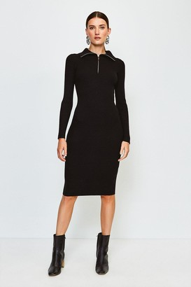 Karen Millen Zip Front Open Neck Jumper Dress