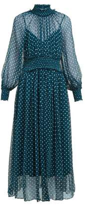 Zimmermann Moncur Polka Dot Silk Dress - Womens - Green Multi