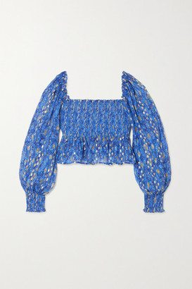 Rixo Eloise Shirred Printed Metallic Fil Coupe Silk-blend Top