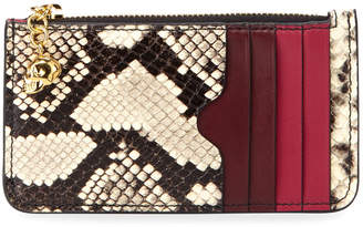 Alexander McQueen Snake-Embossed Zip-Top Card Case