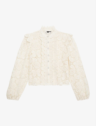 The Kooples High-neck lace shirt