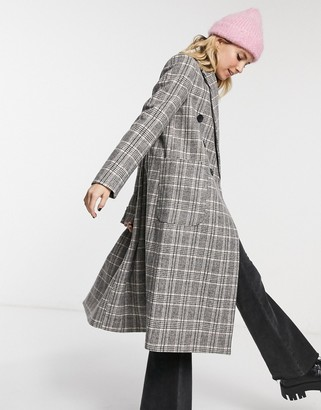 Stradivarius long double-breasted coat in grey check