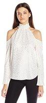 XOXO Women's Foiled Print Smocked Neck Cold Shoulder Blouse