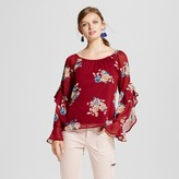 3Hearts Women's Floral Statement Sleeve Scoop Neck Top - 3Hearts (Juniors') Red