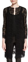 Ralph Lauren Bracelet-Sleeve Guipure-Lace Coat, Black