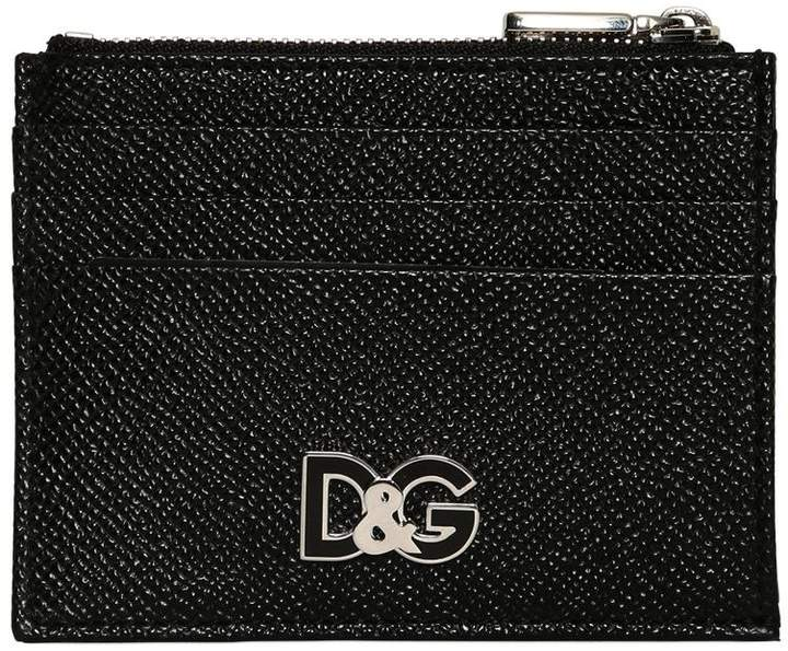 Dolce & Gabbana Embossed Leather Card Holder W/ Zip