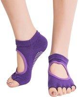 Imixshop Women Half-Toe Yoga Grip Socks Non-Slip for Workout Yoga Pilates Barre