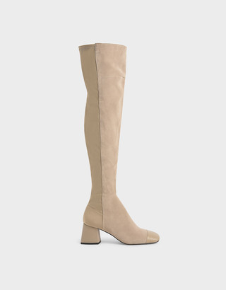 Charles & Keith Leather & Kid Suede Thigh High Boots