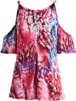 Glam Red & Blue Abstract Keyhole-Tie Cutout Tunic