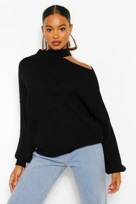 boohoo Cut Out Neckline Oversized Sweater