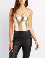 Charlotte Russe Metallic Backless Bodysuit