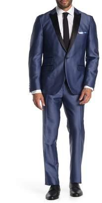 Paisley & Gray Blue Satin One Button Peak Lapel Slim Fit Tuxedo