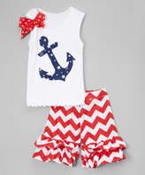 Beary Basics Navy & Red Anchor Tank & Shorts - Infant, Toddler & Girls