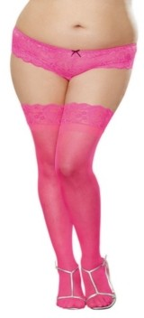 Dreamgirl Plus Size Laced Stay Up Sheer Thigh High