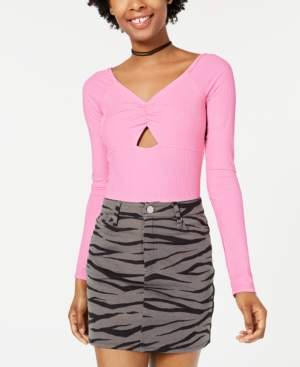Material Girl Juniors' Cutout Rib-Knit Bodysuit, Created for Macy's