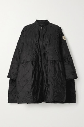 MONCLER GENIUS 4 Simone Rocha Alpinia Appliqued Embroidered Quilted Shell Down Coat - Black