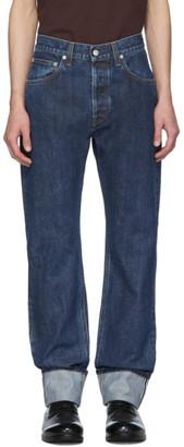 Helmut Lang Blue Cuffed Masc Hi Straight Jeans