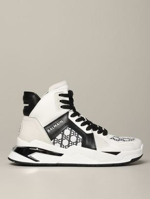 Balmain High Sneakers In Bicolor Leather With All Over B Print