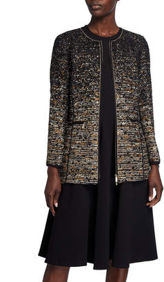 Lafayette 148 New York Karina Zip-Front Tweed Jacket w/ Tape Seams