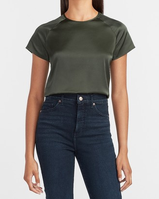 Express Satin Crew Neck Short Sleeve Shirt