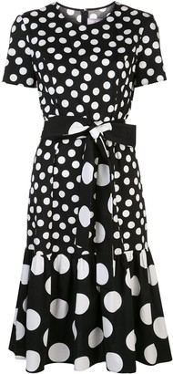 Carolina Herrera Polka Dot Ruffle Midi Dress
