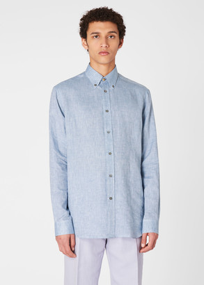 Paul Smith Men's Classic-Fit Blue Linen Shirt With Contrast Cuff Linings
