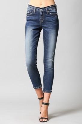 Flying Monkey Laguna Mid Rise Inverted Release Hem Crop Skinny Jeans