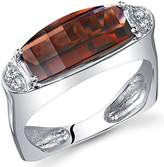 Peora Radiant and Seductive 3.00 Carats Barrel Cut Garnet Ring in Sterling Silver Rhodium Finish Size 7, Available Sizes 5 to 9