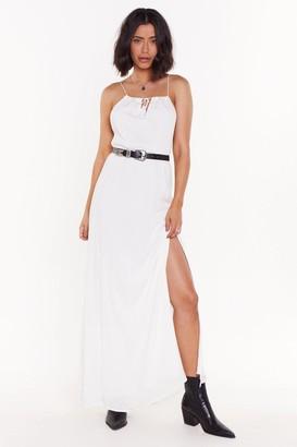 Nasty Gal Womens Let'S Do Slit Again Tassle Maxi Dress - White - 6, White