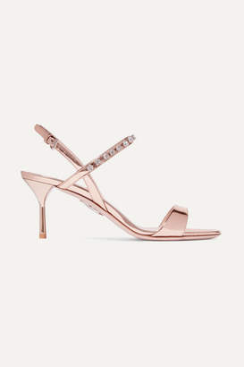 Miu Miu Crystal-embellished Metallic Patent-leather Slingback Sandals - Bronze
