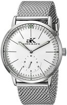 Adee Kaye Men's AK9044N-M/SV Vintage Slim Mechanical Hand-Wind Silver-Tone Stainless Steel Watch