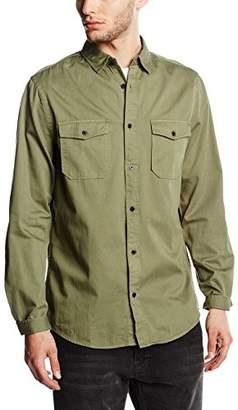 New Look Men's Military Herringbone Regular Fit Long Sleeve Casual Shirt