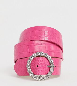 Asos DESIGN Curve circle diamante waist and hip belt in pink croc