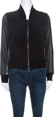 See by Chloe Grey Crepe Sheer Sleeve Zip Front Jacket S