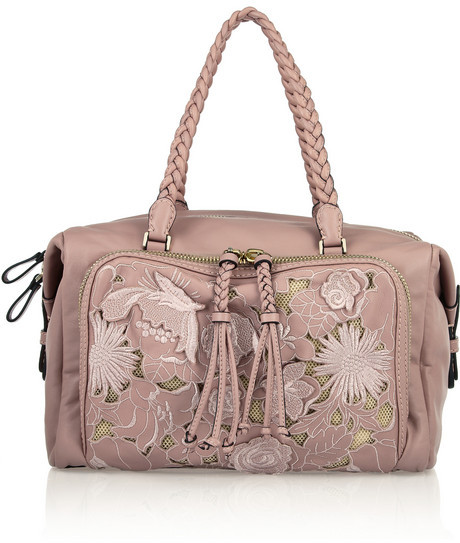Valentino Embroidered lace-effect leather bag