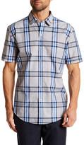 HUGO BOSS Robb Sharp Fit Plaid Short Sleeve Shirt
