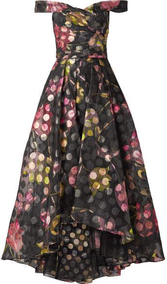 Marchesa Off-the-shoulder Floral-print Fil Coupé Organza Gown - Black