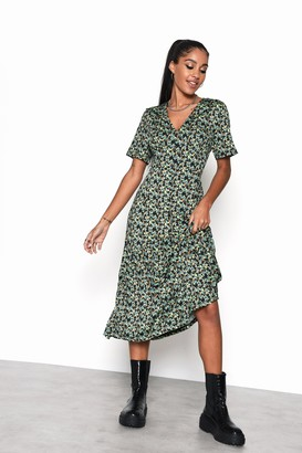 Glamorous Womens **Abstract Floral Ditsy Button Front Midi Dress By Green