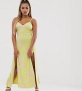 Asos DESIGN Petite jacquard cami maxi dress with split
