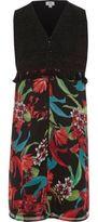 River Island Girls Black floral sleeveless duster coat