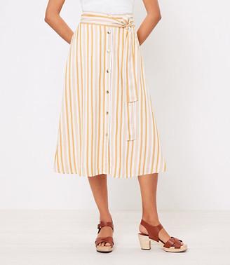 LOFT Striped Tie Waist Button Midi Skirt