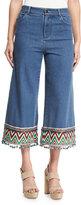 Alice + Olivia Beta Embroidered Pom-Pom Hem Cropped Jeans, Multi