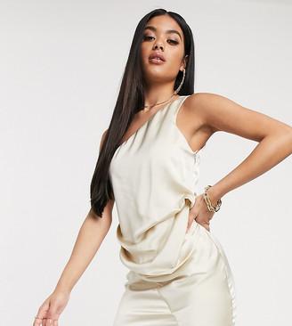 ASOS DESIGN one shoulder drape mini dress in satin