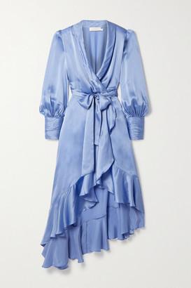 Zimmermann Asymmetric Ruffled Silk-satin Wrap Midi Dress - Light blue