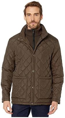 Cole Haan Diamond Quilted Jacket w/ Knit Bib (Olive) Men's Coat