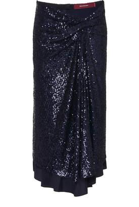 Sies Marjan Kayla Draped Sequin Midi Skirt Size: 0