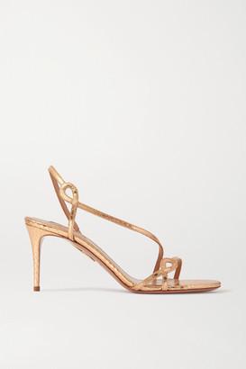Aquazzura Serpentine 75 Metallic Snake-effect Leather Slingback Sandals - Gold