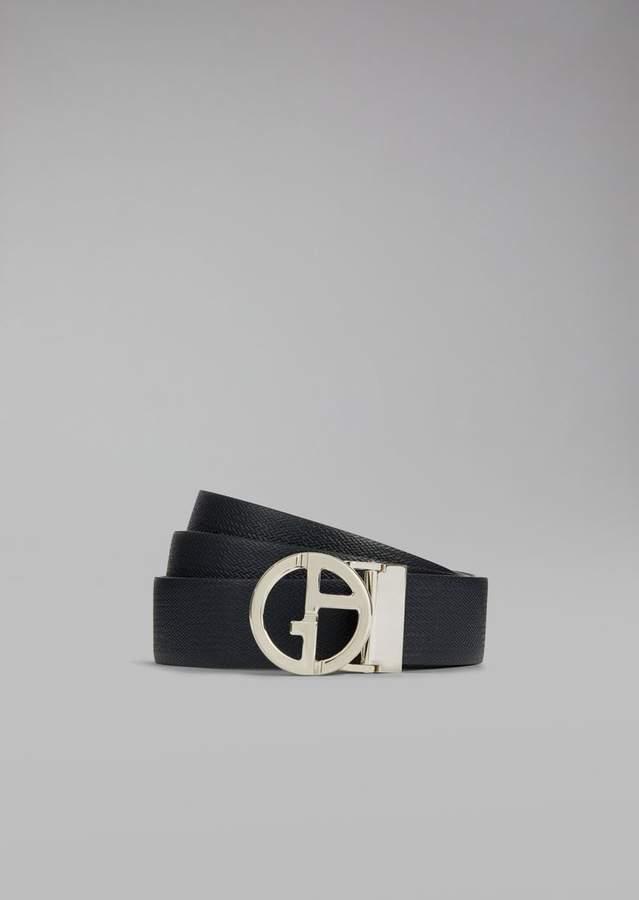 Giorgio Armani Chevron Print Leather Belt